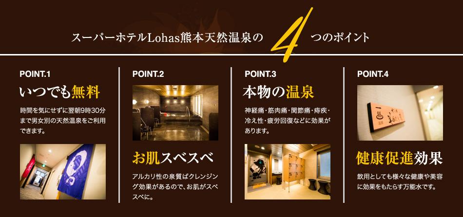 スーパホテルLohas熊本天然温泉の4つのポイント